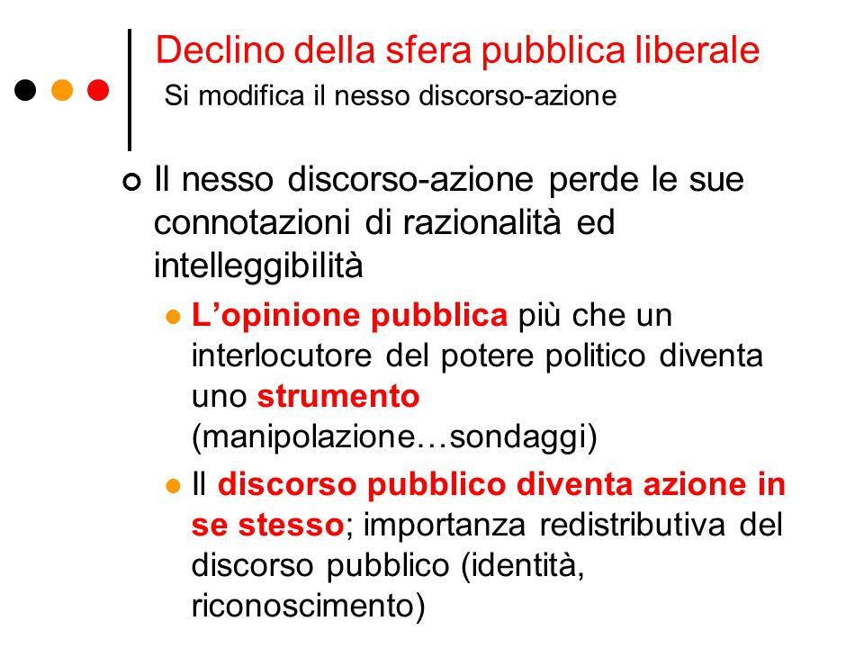 Declino della sfera pubblica liberale Si modifica il nesso discorso-azione