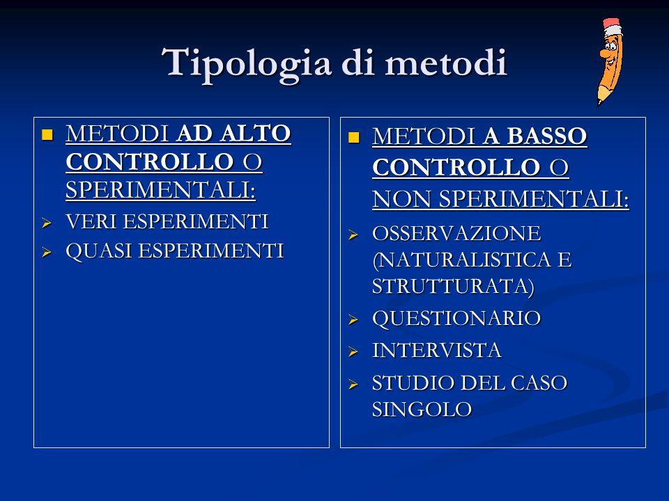 Tipologia di metodi METODI AD ALTO CONTROLLO O SPERIMENTALI: