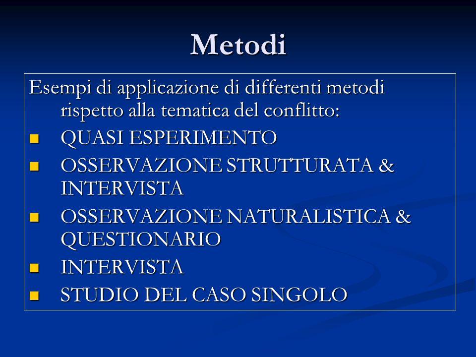 Metodi Esempi di applicazione di differenti metodi rispetto alla tematica del conflitto: QUASI ESPERIMENTO.