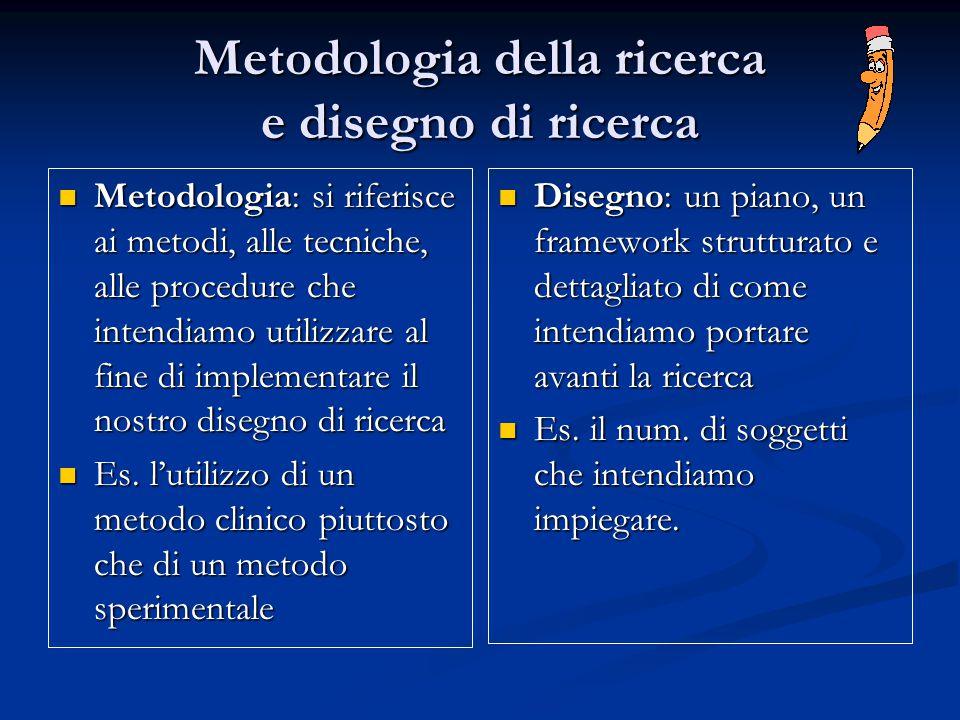 Metodologia della ricerca e disegno di ricerca