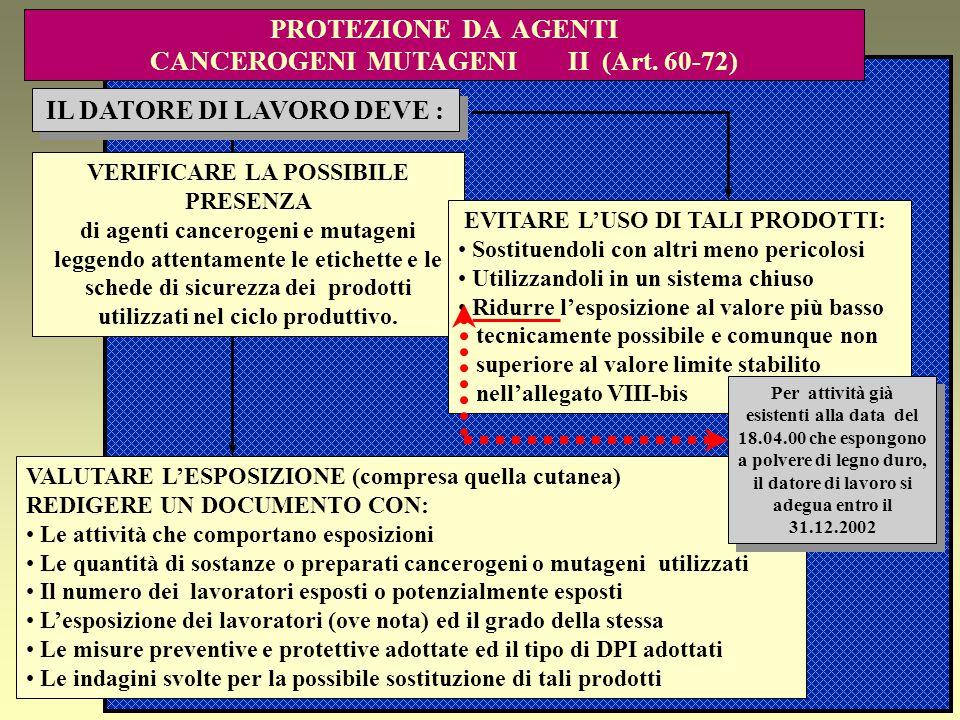 PROTEZIONE DA AGENTI CANCEROGENI MUTAGENI II (Art. 60-72)