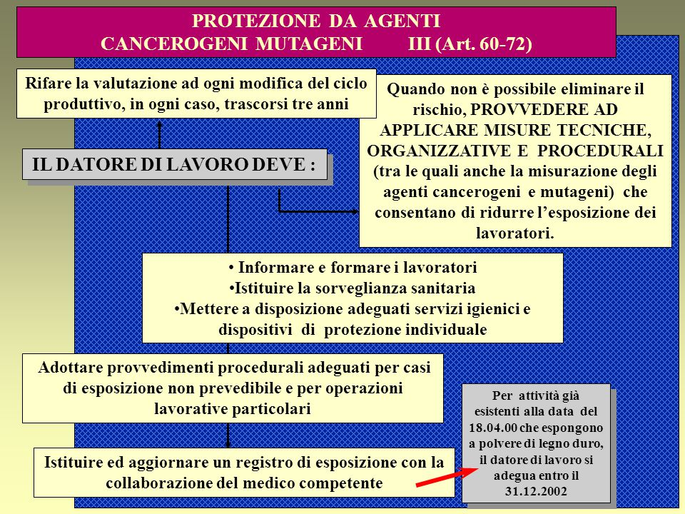 PROTEZIONE DA AGENTI CANCEROGENI MUTAGENI III (Art. 60-72)