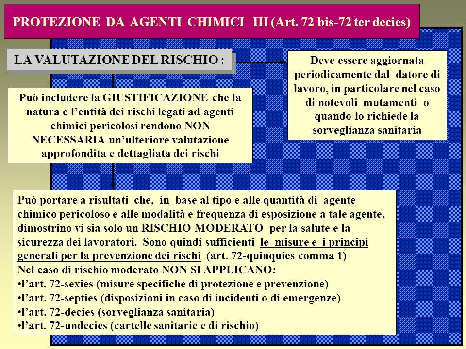 PROTEZIONE DA AGENTI CHIMICI III (Art. 72 bis-72 ter decies)