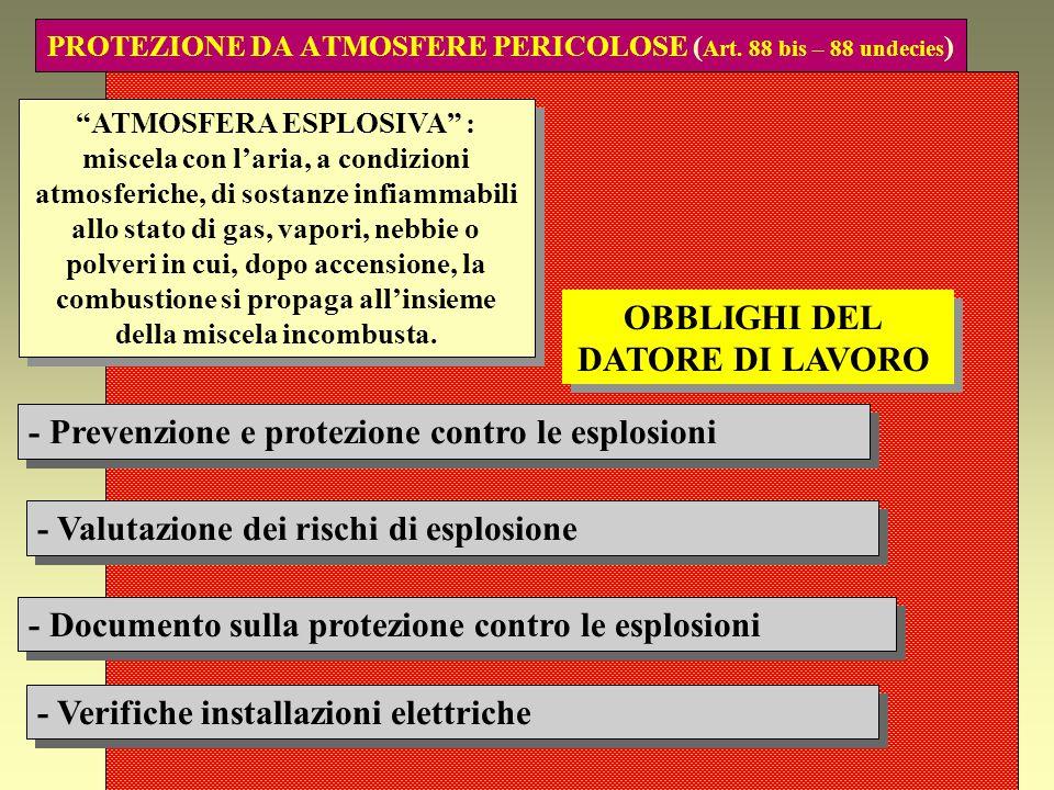 PROTEZIONE DA ATMOSFERE PERICOLOSE (Art. 88 bis – 88 undecies)