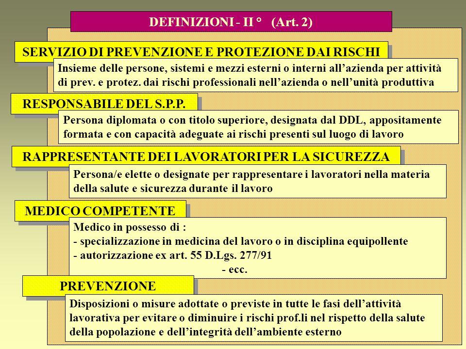 DEFINIZIONI - II ° (Art. 2)