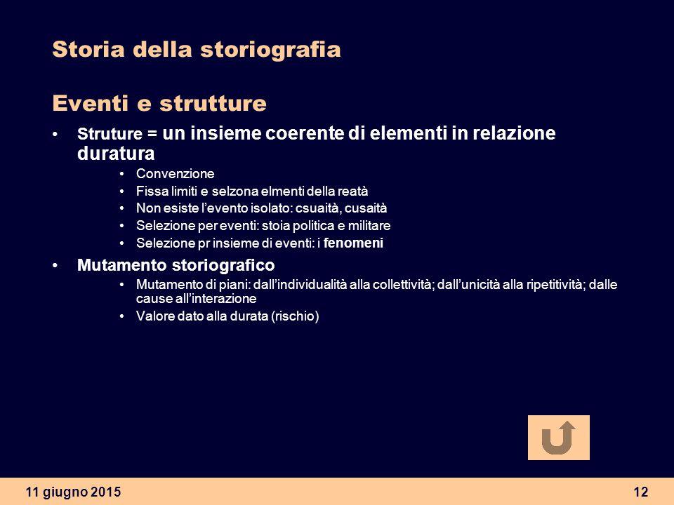 Storia della storiografia Eventi e strutture