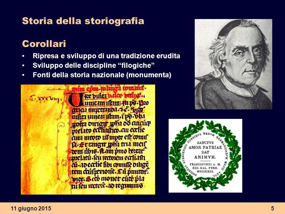 Storia della storiografia Corollari