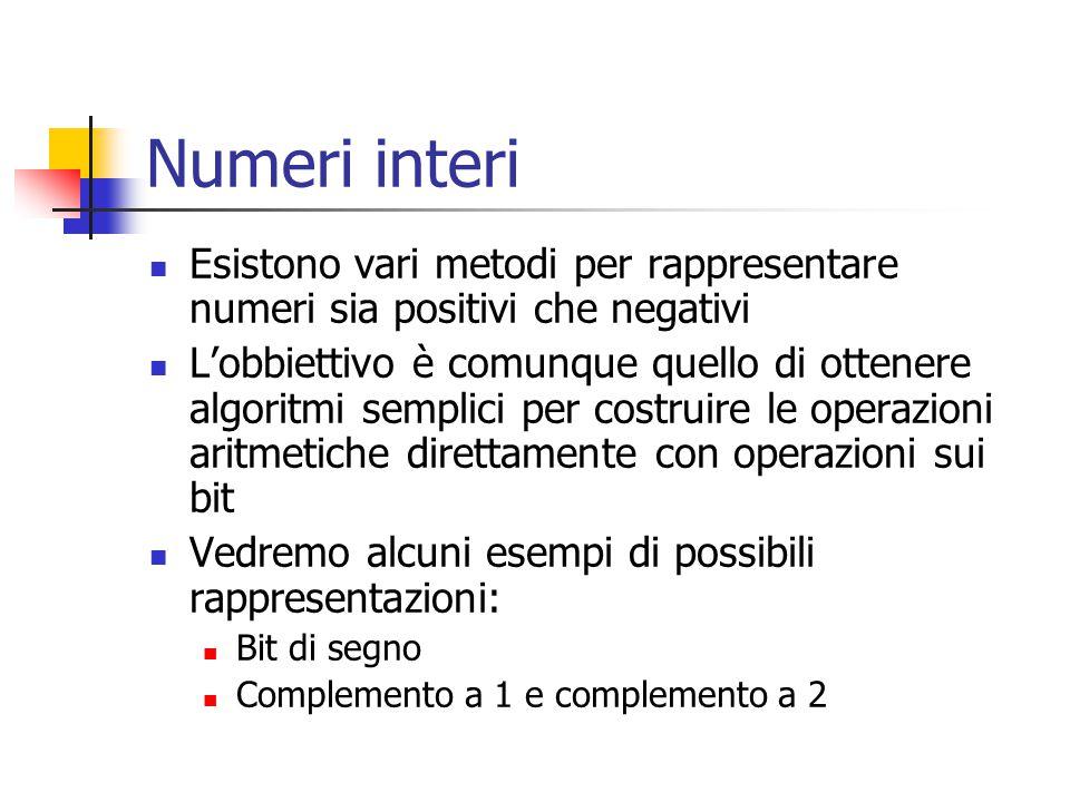 Numeri interi Esistono vari metodi per rappresentare numeri sia positivi che negativi.