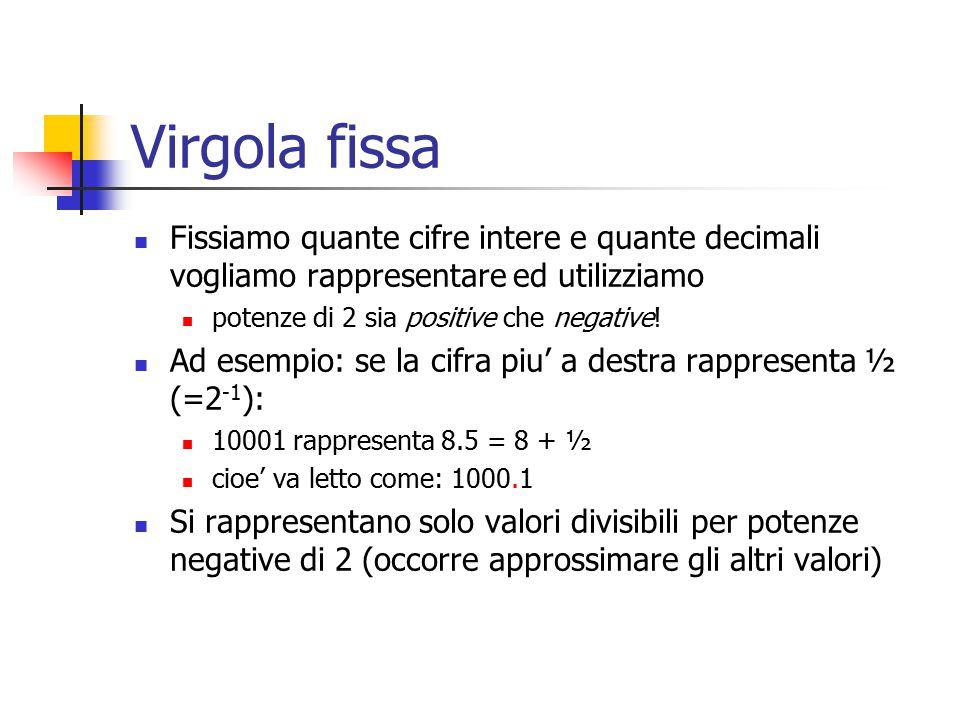 Virgola fissa Fissiamo quante cifre intere e quante decimali vogliamo rappresentare ed utilizziamo.
