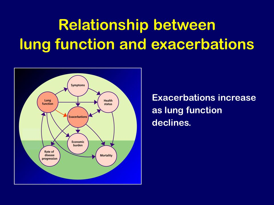 Relationship between lung function and exacerbations