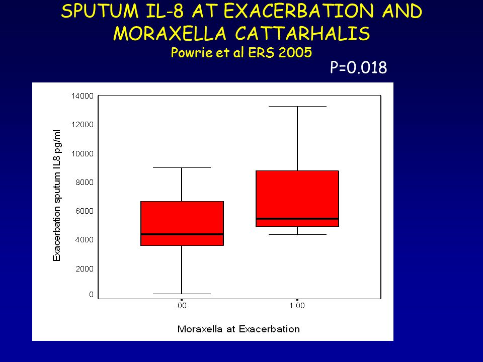 SPUTUM IL-8 AT EXACERBATION AND MORAXELLA CATTARHALIS Powrie et al ERS 2005