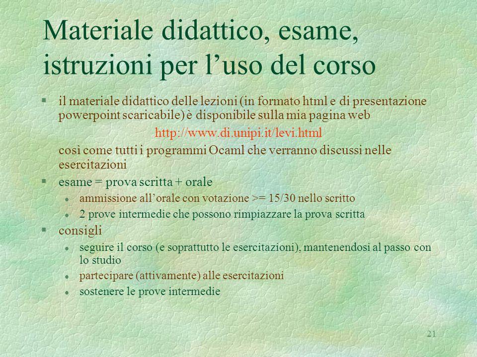 Materiale didattico, esame, istruzioni per l'uso del corso