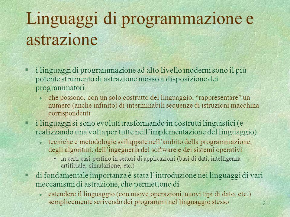 Linguaggi di programmazione e astrazione