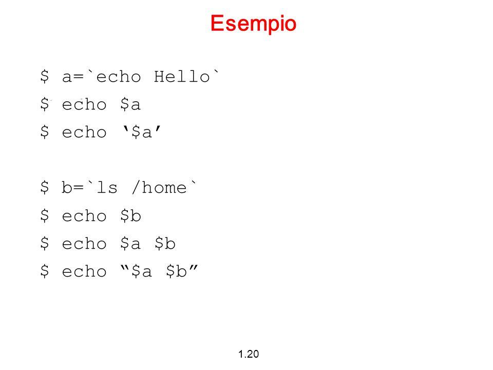 Esempio $ a=`echo Hello` $ echo $a $ echo '$a' $ b=`ls /home`