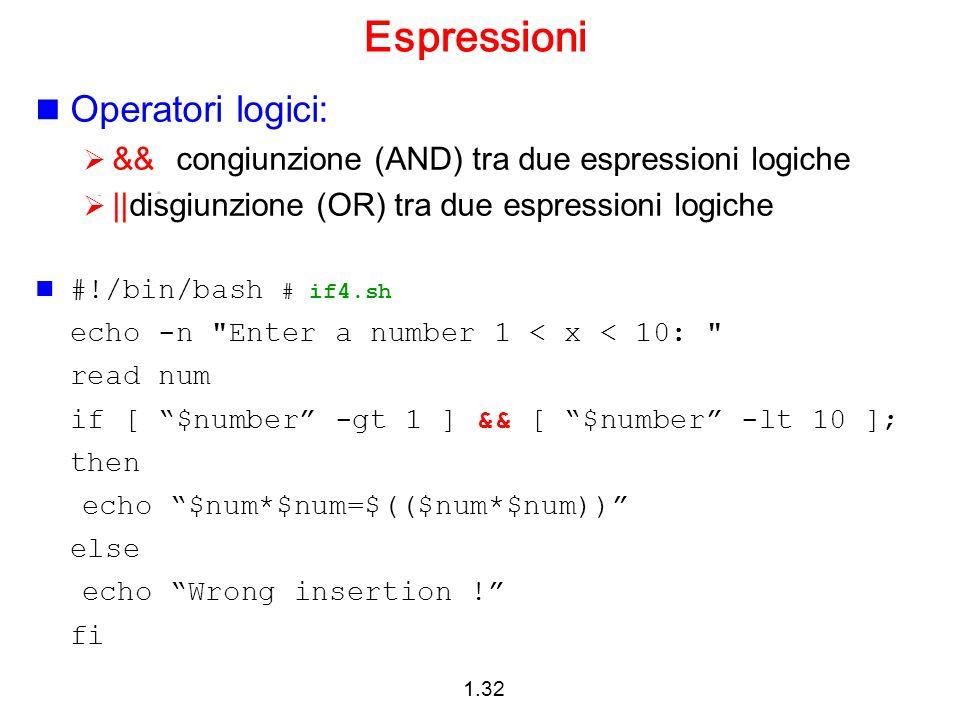 Espressioni Operatori logici: