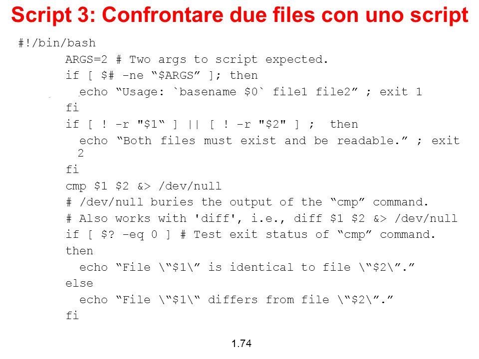 Script 3: Confrontare due files con uno script