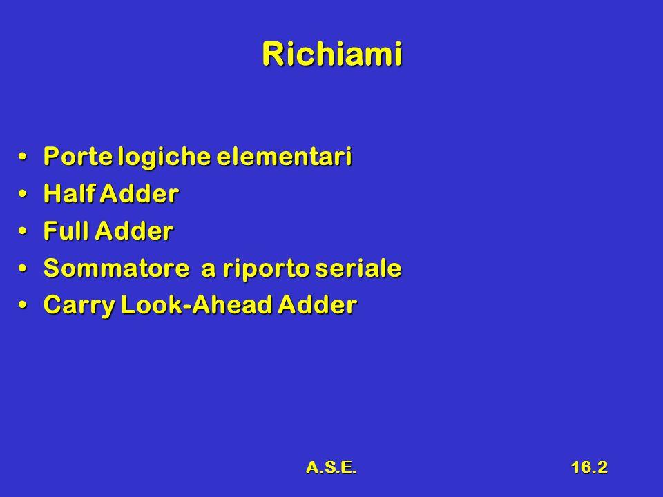 Richiami Porte logiche elementari Half Adder Full Adder