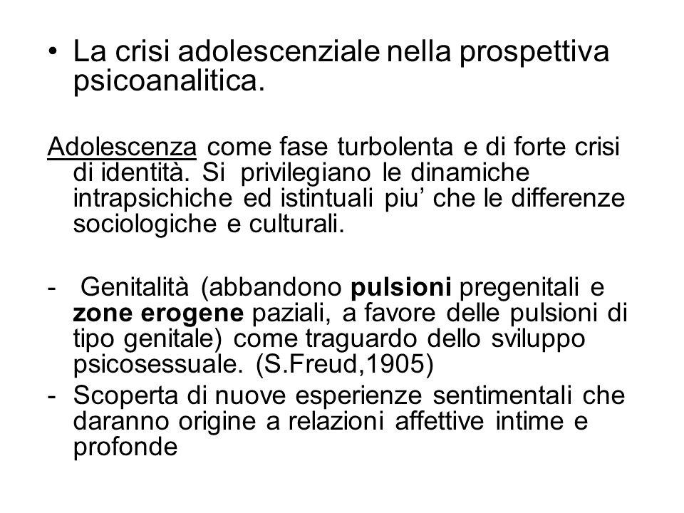 La crisi adolescenziale nella prospettiva psicoanalitica.