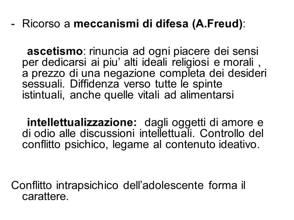 Ricorso a meccanismi di difesa (A.Freud):