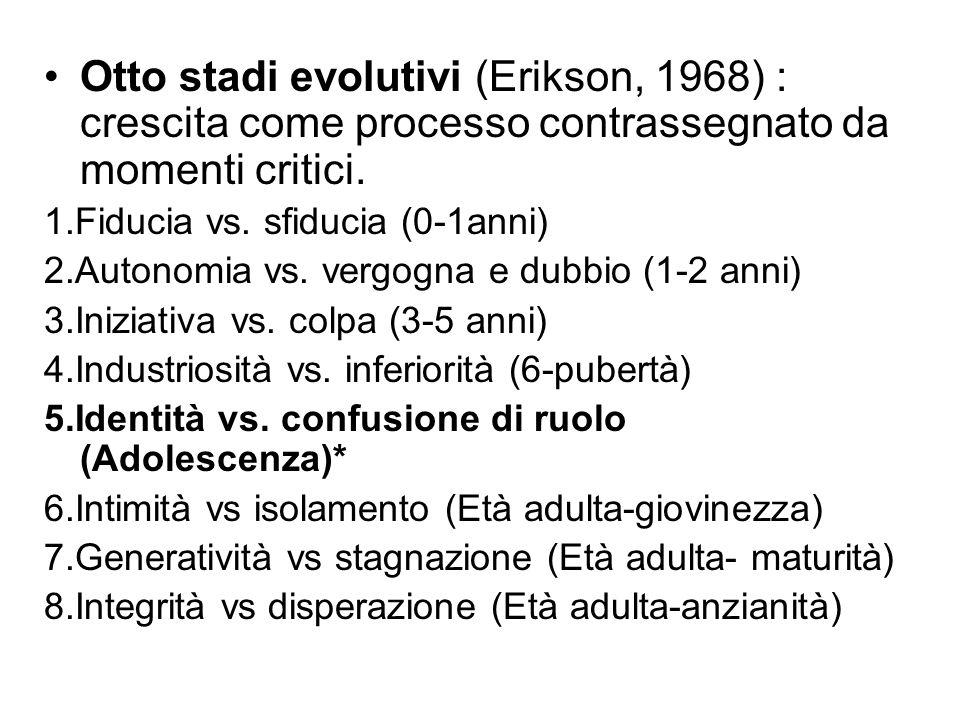 Otto stadi evolutivi (Erikson, 1968) : crescita come processo contrassegnato da momenti critici.