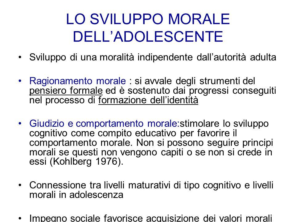 LO SVILUPPO MORALE DELL'ADOLESCENTE