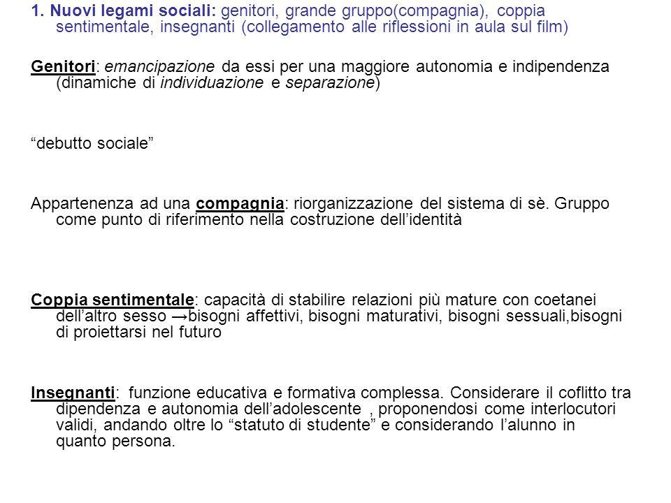 1. Nuovi legami sociali: genitori, grande gruppo(compagnia), coppia sentimentale, insegnanti (collegamento alle riflessioni in aula sul film)