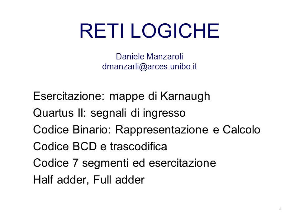 RETI LOGICHE Daniele Manzaroli dmanzarli@arces.unibo.it