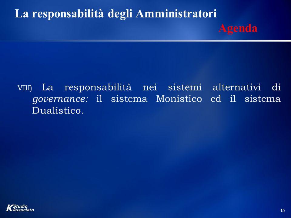 La responsabilità degli Amministratori Agenda