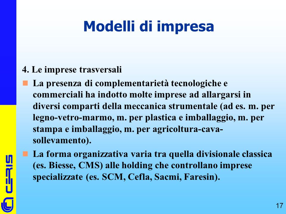 Modelli di impresa 4. Le imprese trasversali