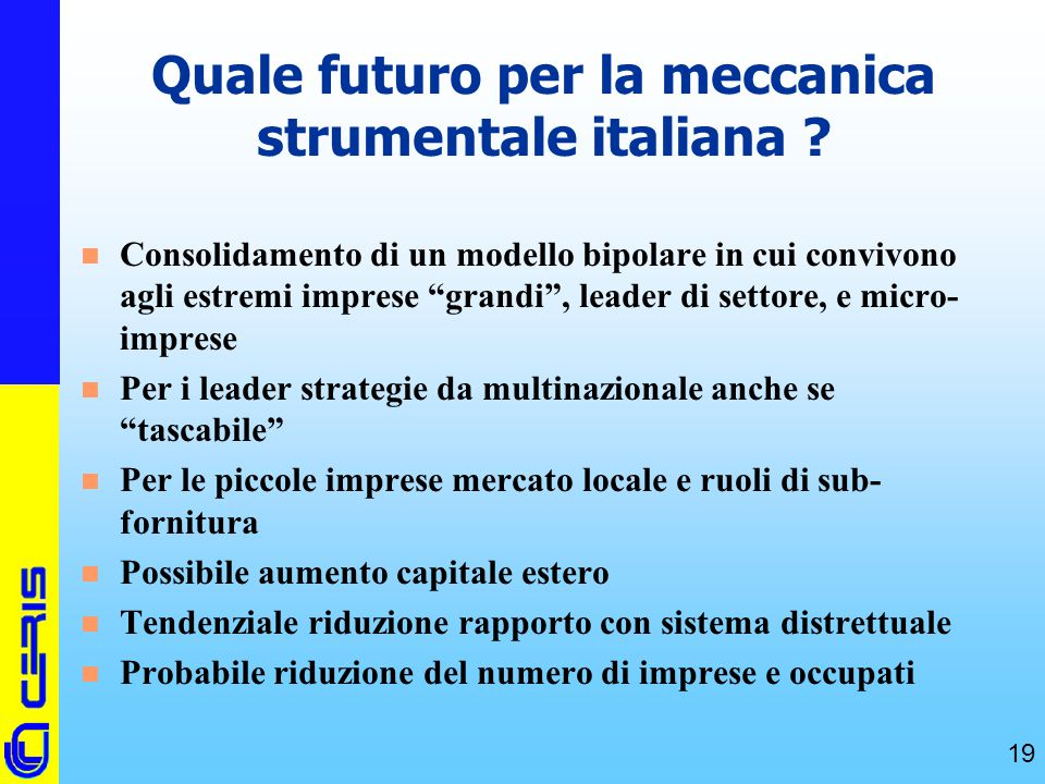 Quale futuro per la meccanica strumentale italiana
