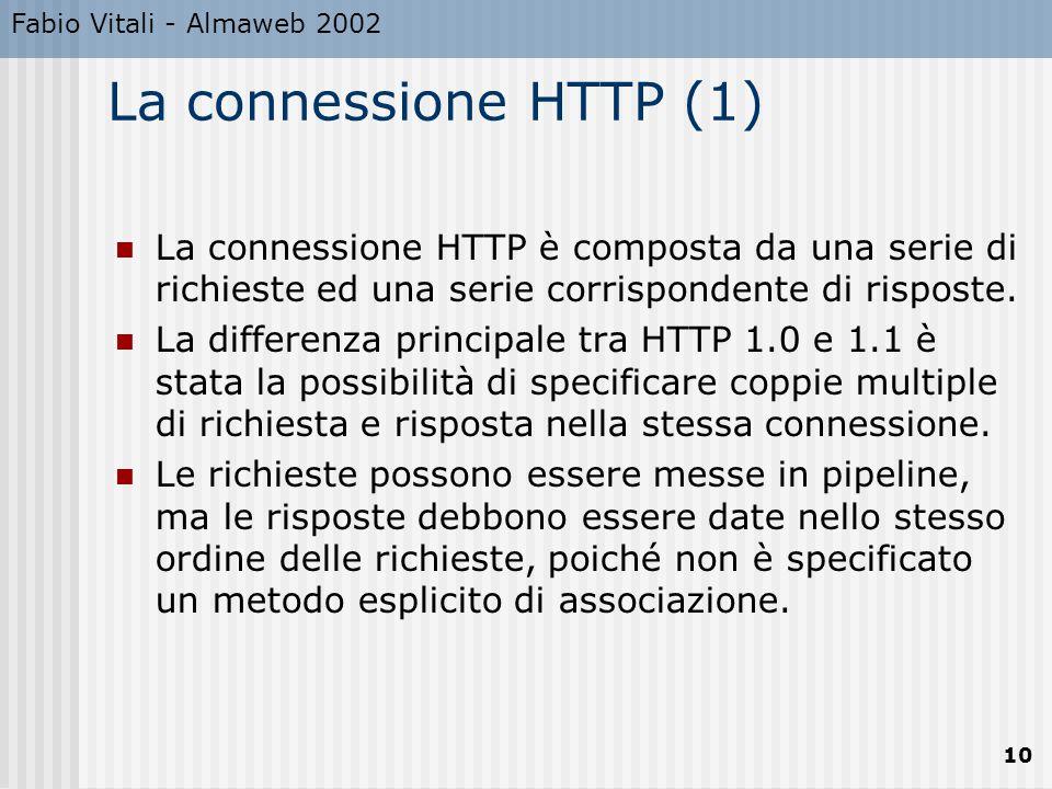 Fabio Vitali - Almaweb 2002 La connessione HTTP (1)