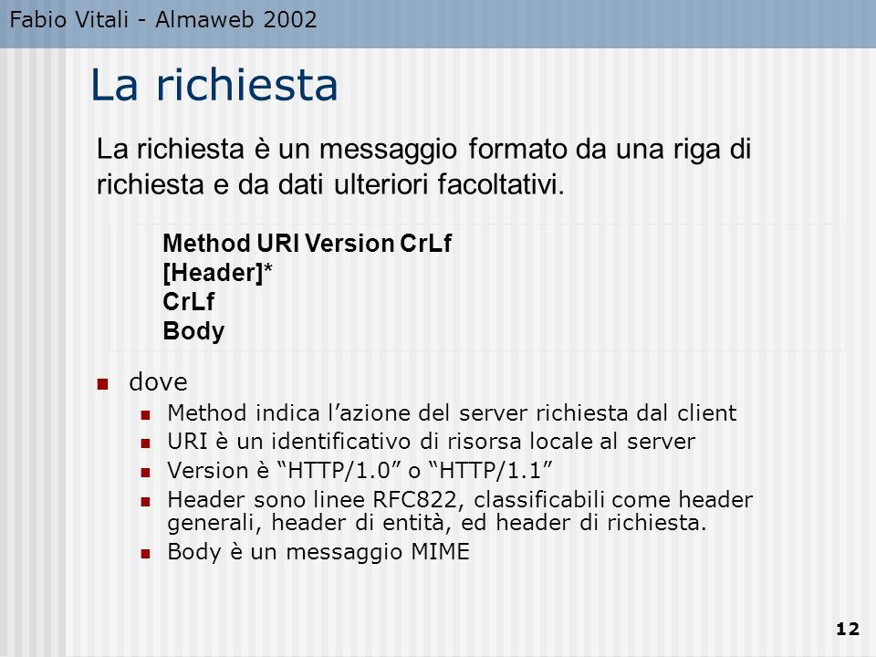 Fabio Vitali - Almaweb 2002 La richiesta. La richiesta è un messaggio formato da una riga di richiesta e da dati ulteriori facoltativi.