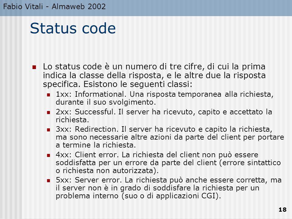 Fabio Vitali - Almaweb 2002 Status code.