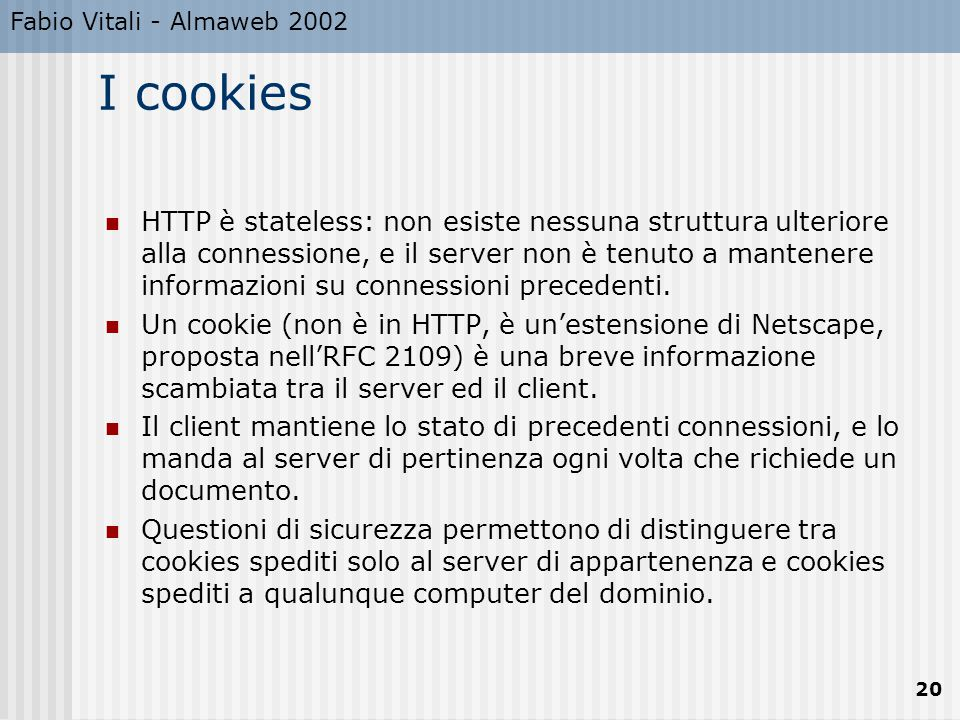 Fabio Vitali - Almaweb 2002 I cookies.