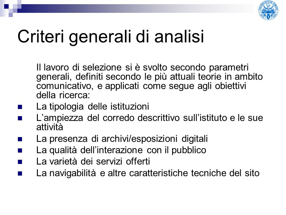 Criteri generali di analisi
