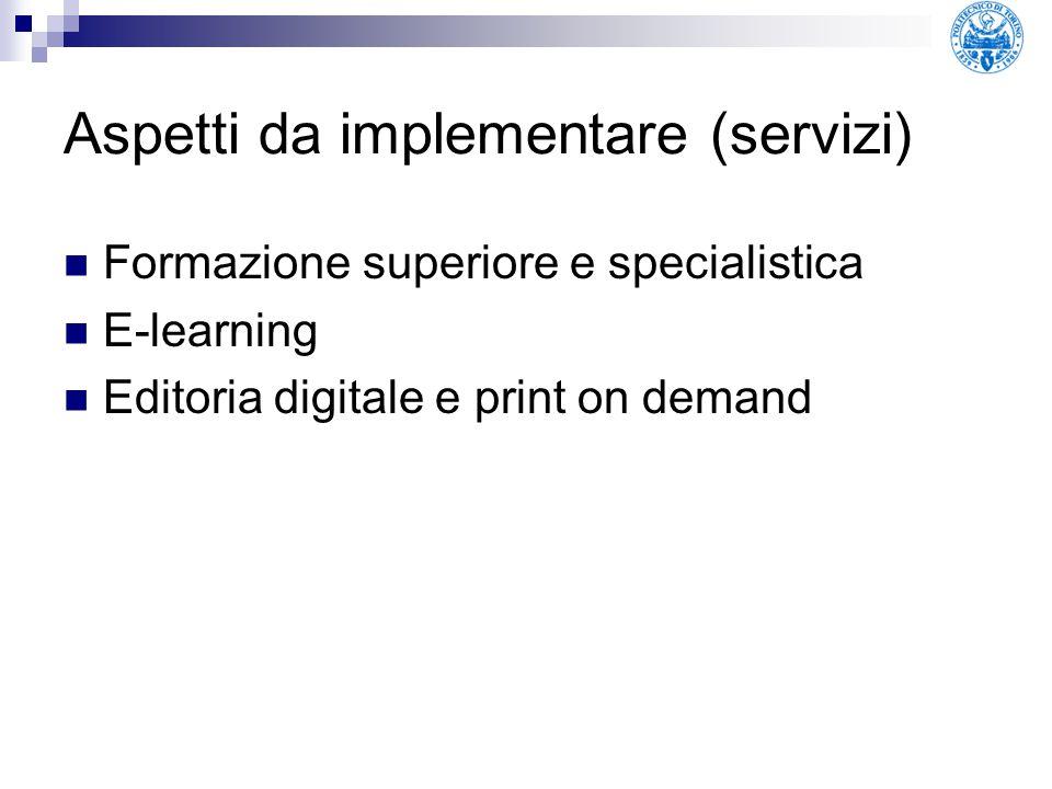Aspetti da implementare (servizi)