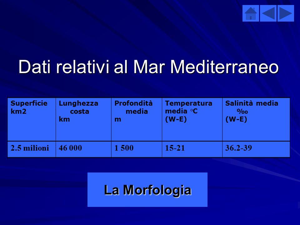Dati relativi al Mar Mediterraneo