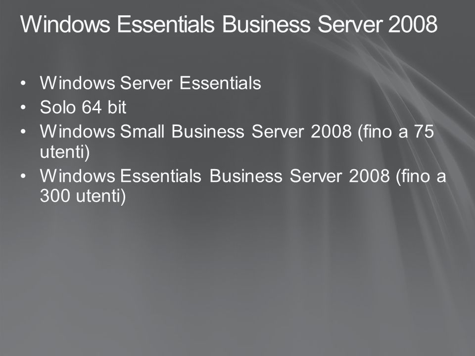 Windows Essentials Business Server 2008