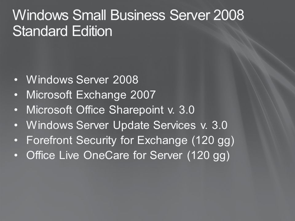 Windows Small Business Server 2008 Standard Edition