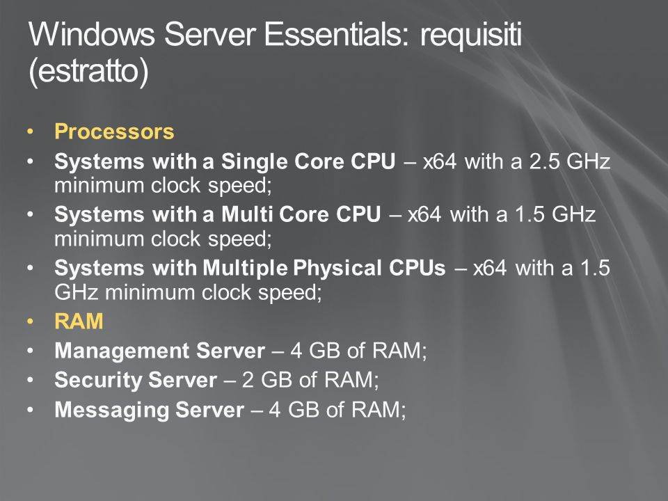 Windows Server Essentials: requisiti (estratto)