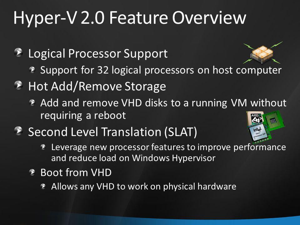 Hyper-V 2.0 Feature Overview