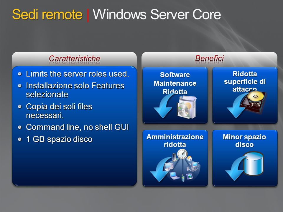 Sedi remote | Windows Server Core