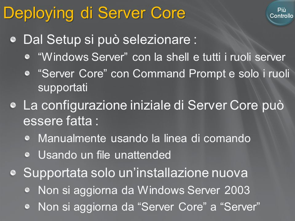 Deploying di Server Core