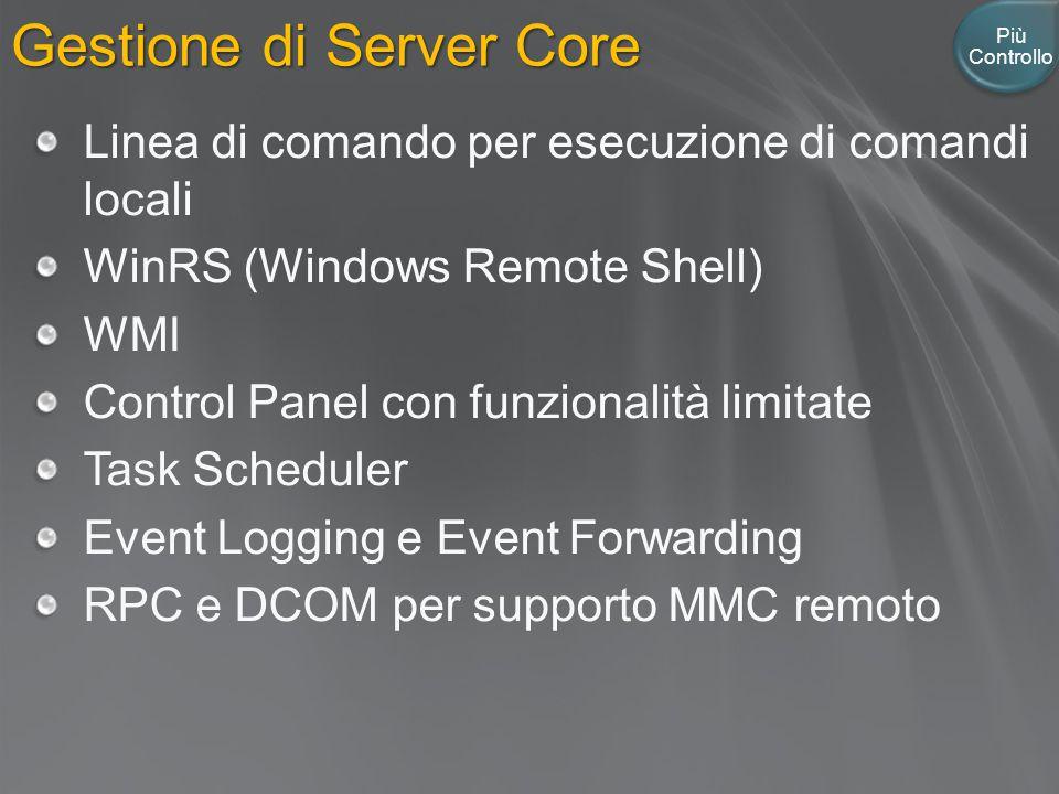 Gestione di Server Core
