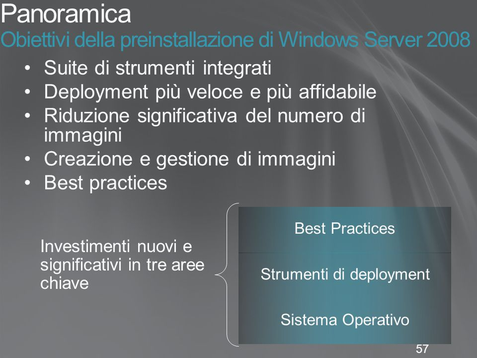 Panoramica Obiettivi della preinstallazione di Windows Server 2008