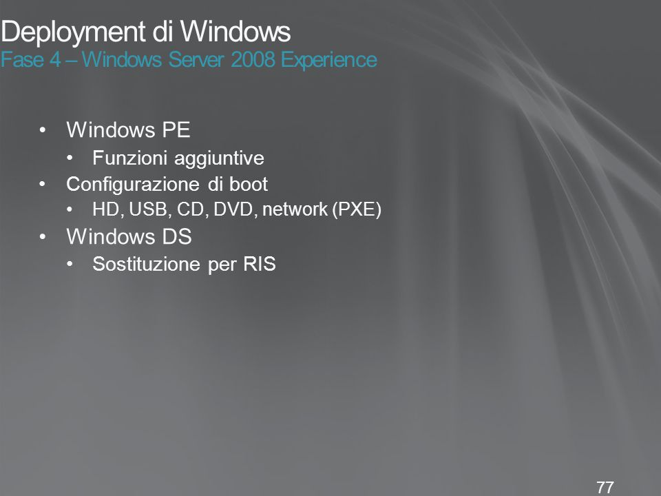 Deployment di Windows Fase 4 – Windows Server 2008 Experience