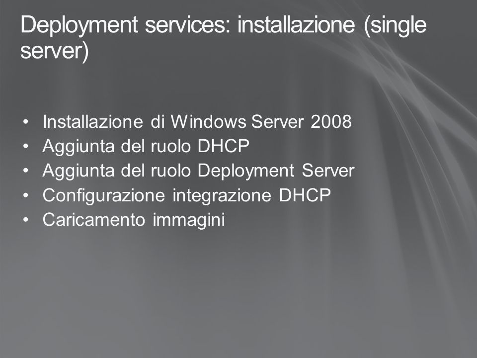 Deployment services: installazione (single server)