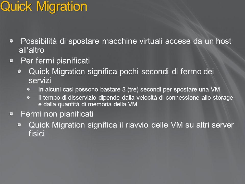Quick Migration 4/16/2017 8:06 PM. Possibilità di spostare macchine virtuali accese da un host all'altro.