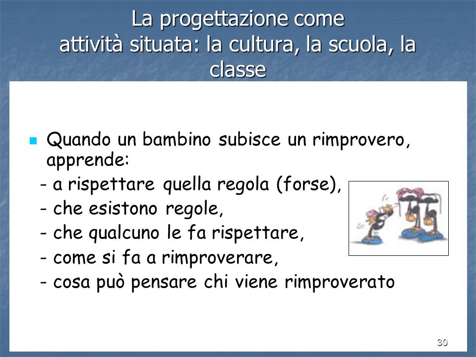 La progettazione come attività situata: la cultura, la scuola, la classe