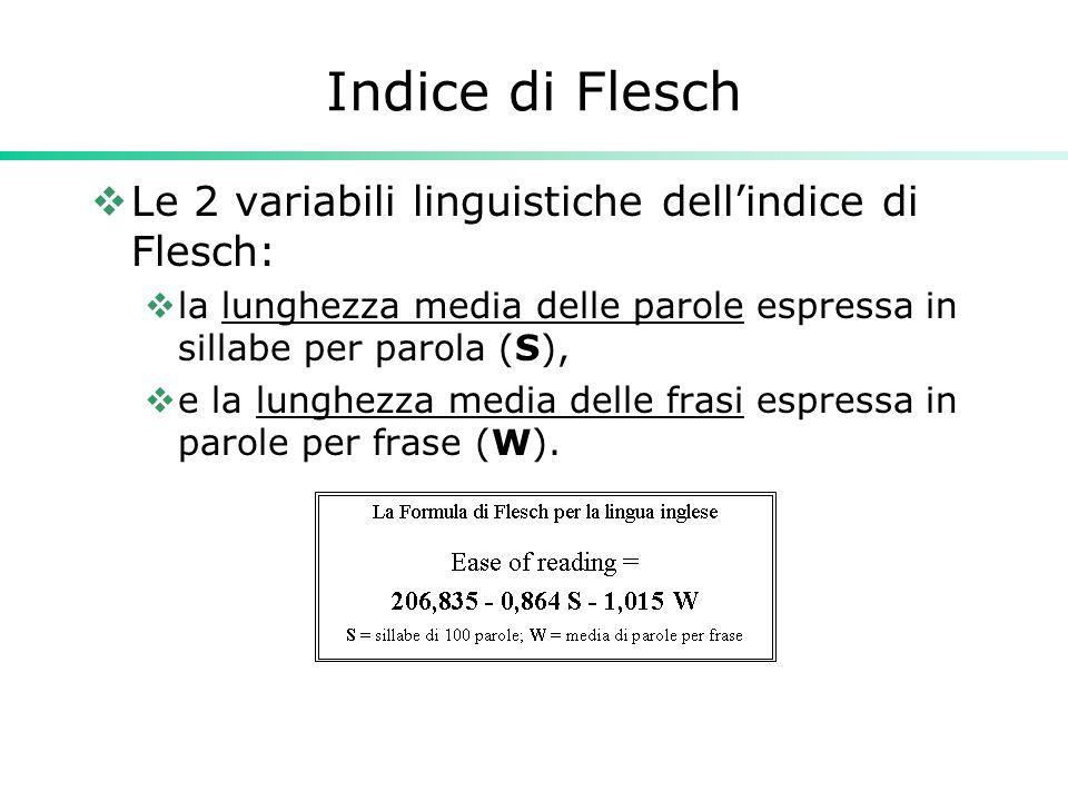 Indice di Flesch Le 2 variabili linguistiche dell'indice di Flesch: